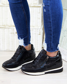 Jayla Black Diamante Shine Trainers