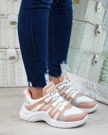 Teagan Nude Lace Up Trainers