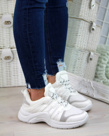 Teagan White Lace Up Trainers