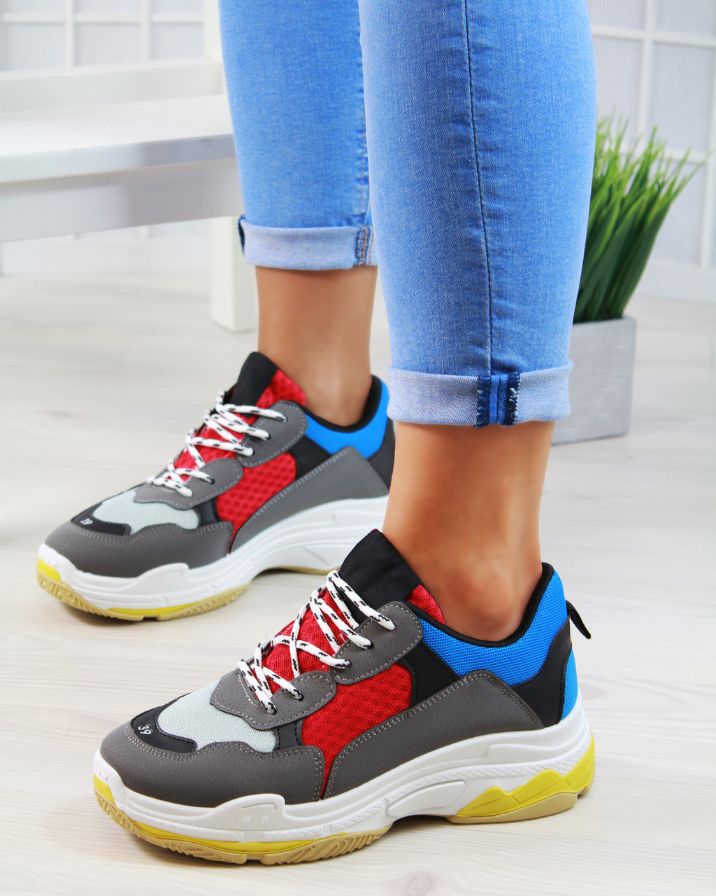 b57010438a4ba1 ... Madison Blue Chunky Lace Up Trainers. Loading zoom