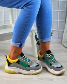 Felicity Yellow/Green Chunky Lace Up Trainers