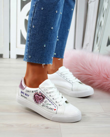 Daphne White Lace Up Embellished Sneakers