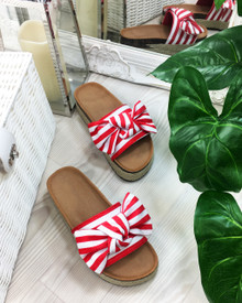 Isla Red Bow Espadrille Sliders