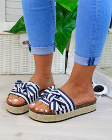 Isla Navy Bow Espadrille Sliders