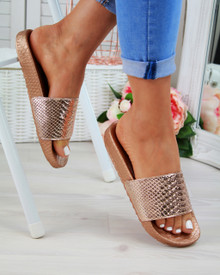 Caia Rose Gold Shiny Casual Sliders