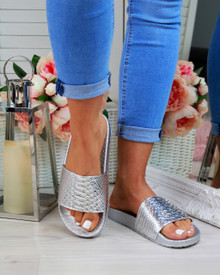 Caia Silver Shiny Casual Sliders