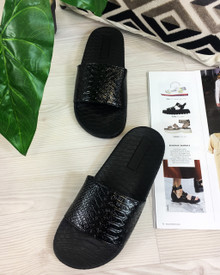 Caia Black Shiny Casual Sliders