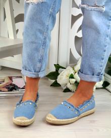 Pippa Blue Studs Slip On Espadrilles