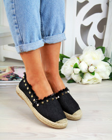 Pippa Black Studs Slip On Espadrilles