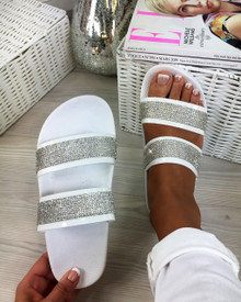 Mia White Diamante Double Strap Sliders