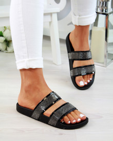 Mia Black Diamante Double Strap Sliders