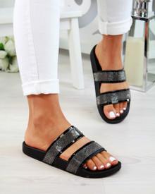 Mia Black Diamante Double Strap Sliders