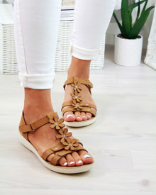Akita Tan T-Bar Embellished Sandals