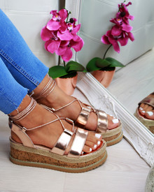 Ibiza Rose Gold Espadrille Tie Up Sandals