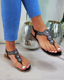 Colette Black Embellished Slingback Sandals