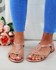 Aria Rose Gold Embellished Slingback Sandals