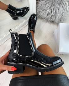 Kensie Black Croc Studs Chelsea Ankle Boots