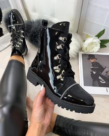 Catia Black Patent Biker Ankle Boots