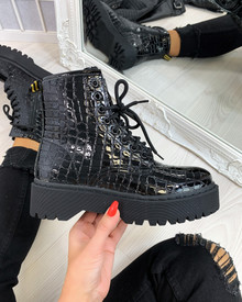 Faith Black Chunky Lace Up Ankle Boots