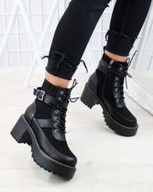 Bianca Black Biker Heeled Ankle Boots