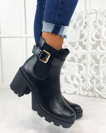 Beverly Black Buckle Heeled Ankle Boots