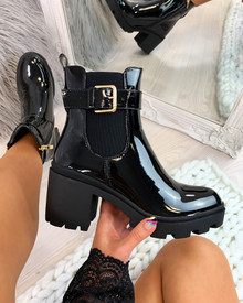 Beverly Black Patent Buckle Heeled Ankle Boots