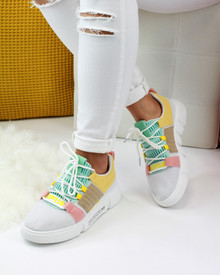 Debbie Yellow Chunky Pull On Trainers