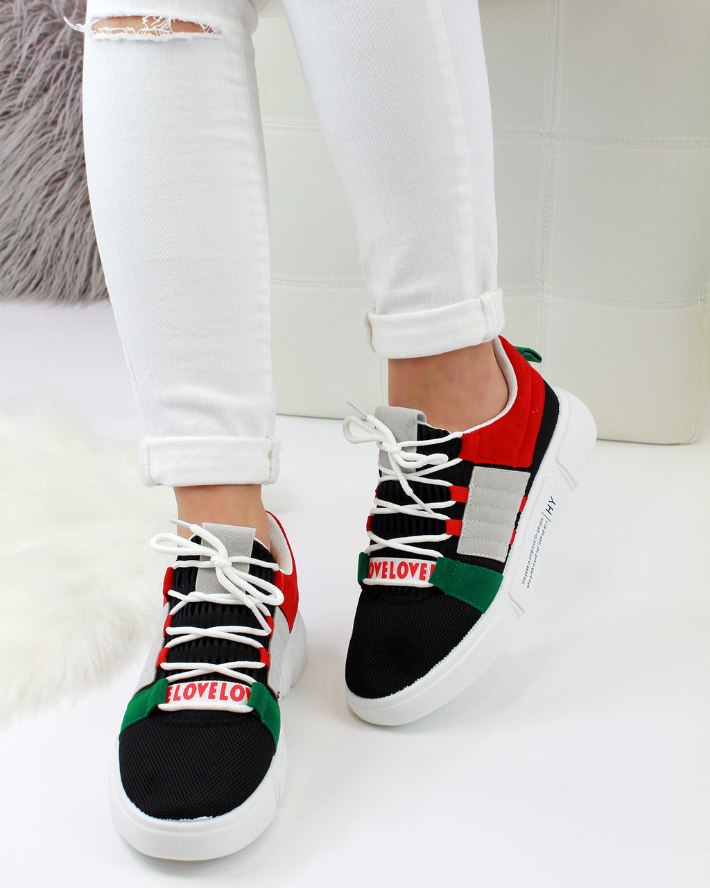 cute best prices price reduced Debbie Black Chunky Pull On Trainers - Larena Fashion