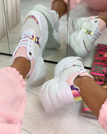 Shanice Chunky Lace Up Trainers in White Pink