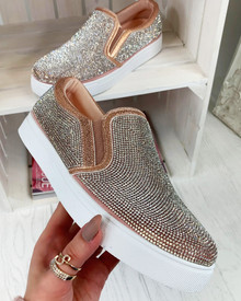 Rita Champagne Diamante Casual Pumps