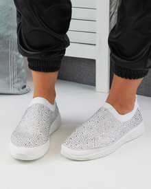 Kelly White Diamante Sock Trainers
