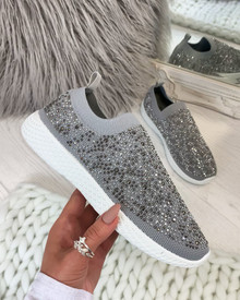 Kelly Grey Diamante Sock Trainers