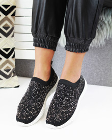 Kelly Black White Diamante Sock Trainers