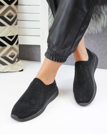 Kelly Black Black Diamante Sock Trainers