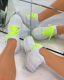 Sarahi Overlay Knit Trainers In Yellow
