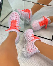 Sarahi Overlay Knit Trainers In Orange