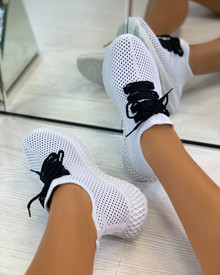 Sarahi Overlay Knit Trainers In Black