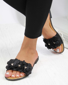 Flower Amore Sliders In Black