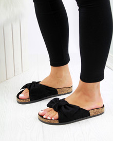 Resort Plan Bow Flatform Sliders In Black