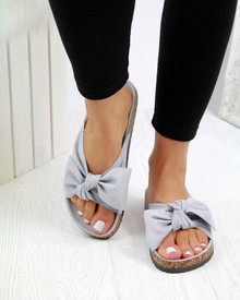 Resort Plan Bow Flatform Sliders In Grey