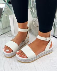 Catalina Bead Platform Sandals In White