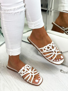 Tahiti Strappy Flat Slip On Sandals In White