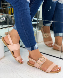 Savanna Buckle Embellished Sandals In Nude