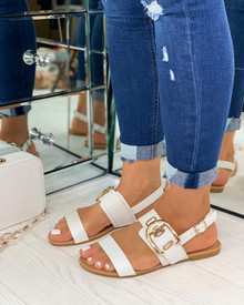 Savanna Buckle Embellished Sandals In White