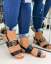 Savanna Buckle Embellished Sandals In Black