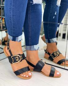 Savanna Buckle Embellished Sandals In Black