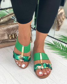 Emery Embellished Slider Sandals In Green