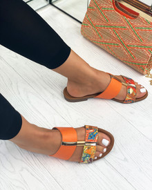 Emery Embellished Slider Sandals In Orange