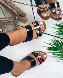 Emery Embellished Slider Sandals In Black