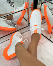 Chase The Sun Slip On Sock Trainers In White Orange
